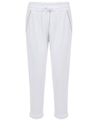 Bead embroidered silk detail track trousers BRUNELLO CUCINELLI