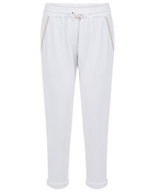 Pantalon de jogging brodé de perles et de soie BRUNELLO CUCINELLI