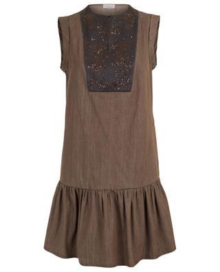 Ärmelloses Kleid mit besticktem Latz BRUNELLO CUCINELLI