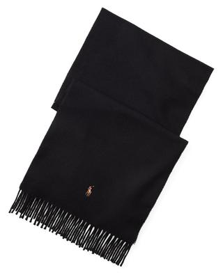 Pony embroidered fringed wool scarf POLO RALPH LAUREN