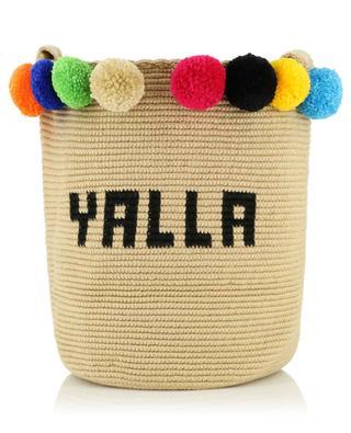 Yalla pompons adorned cotton crocheted bucket bag SORAYA HENNESSY
