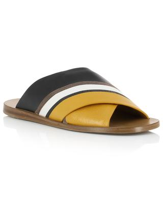 Flat leather slides with strass BRUNELLO CUCINELLI