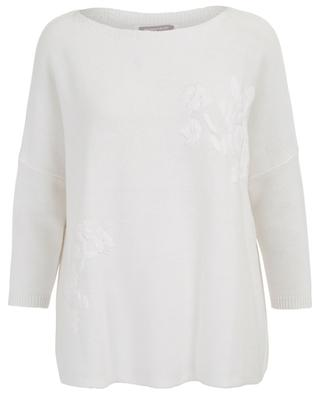 Loose floral embroidered cotton jumper HEMISPHERE