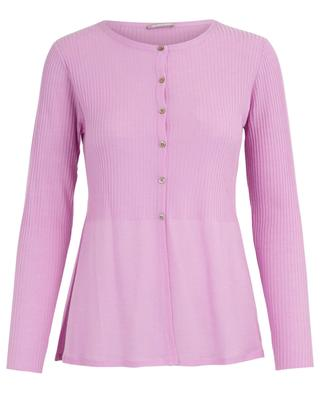 Button-down flared fine and rib knit cardigan HEMISPHERE