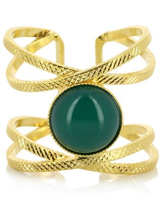 Iris gold-plated ring with agate COLLECTION CONSTANCE