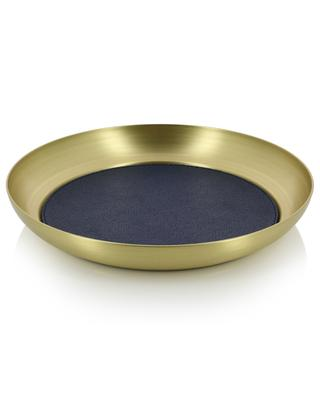 Zurigo round metal and leather valet tray GIOBAGNARA