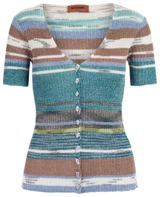 Short-sleeved striped slim fit cardigan MISSONI