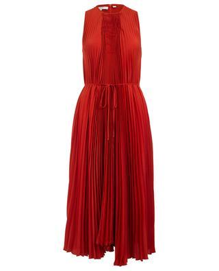 Langes plissiertes Kleid mit gesmoktem Detail VINCE