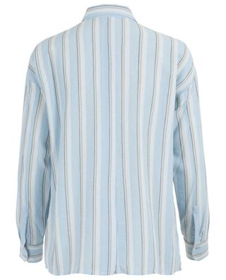 Boxy striped viscose and linen shirt VINCE