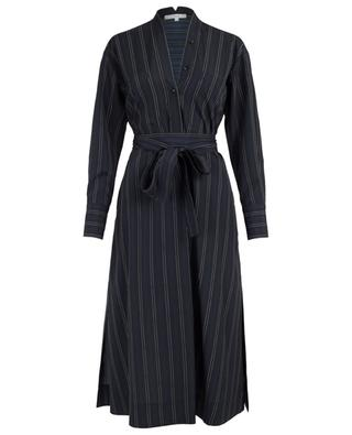 Striped midi shirt dress with V-neck VINCE