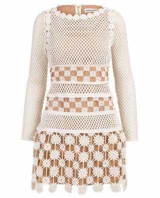 be4580ef45114 Crochet long sleeve mini dress SELF PORTRAIT ...
