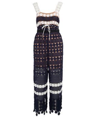 Flower Stripe crochet jumpsuit SELF PORTRAIT