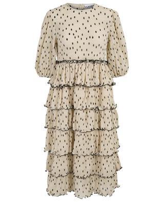 Langes Kleid aus Georgette mit Tupfenprint und Rüschen GANNI