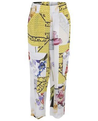 Pantalon léger en soie mélangée avec imprimé floral GANNI