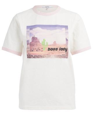 T-Shirt aus geflammter Baumwolle Boss Lady GANNI