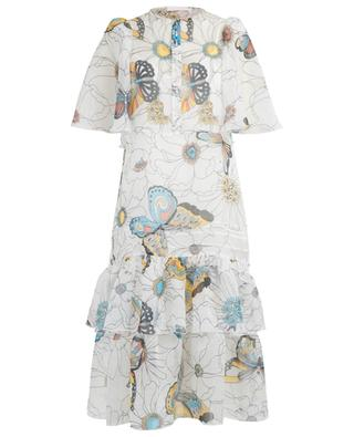Flowers and Butterflies flounced organza midi dress SEE BY CHLOE