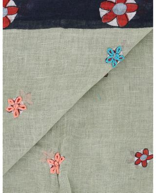 Flora embroideries adorned linen shawl STORIATIPIC
