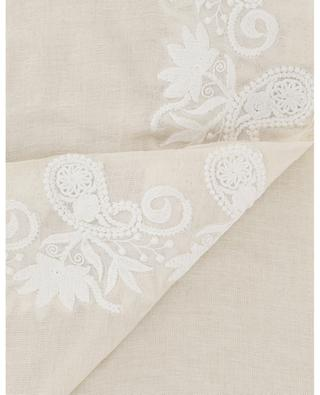 01 linen blend scarf with floral embroideries MAX ET MOI