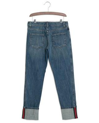Web detail jeans with adjustable waist GUCCI