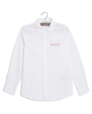 Logo embroidery poplin shirt GUCCI