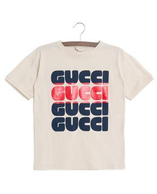 Jersey-T-Shirt mit Print Logo Web GUCCI
