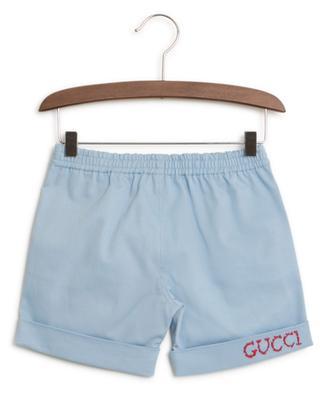 Logo embroidered gabardine shorts GUCCI