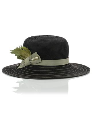 Feather and hat pin adorned hat GI'N'GI