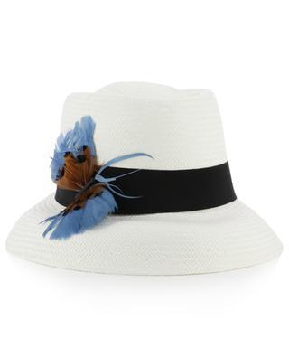 Chapeau tressé avec papillon plumes GI'N'GI