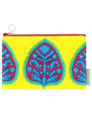 Small Gypsy Leaf printed velvet clutch CORITA ROSE
