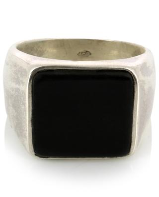 Andy Black horn detail signet ring DASQUE