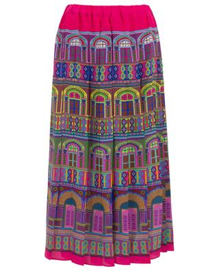 Pleated printed silk skirt PEECH