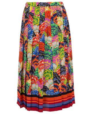 Pleated floral print silk skirt PEECH