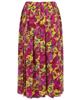 Printed silk pleated skirt PEECH