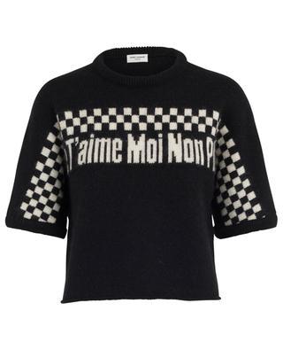 Cropped boxy jacquard jumper with slogan SAINT LAURENT PARIS