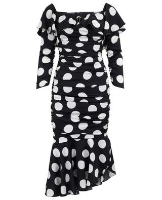 Polka dot dress with ruche embellishment DOLCE & GABBANA