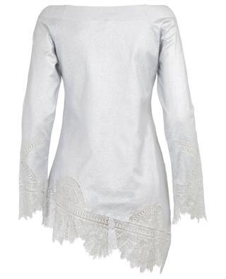 Langer silberner Pullover mit Spitze ERMANNO SCERVINO