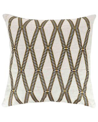 Mahjong embroidered linen cushion IOSIS