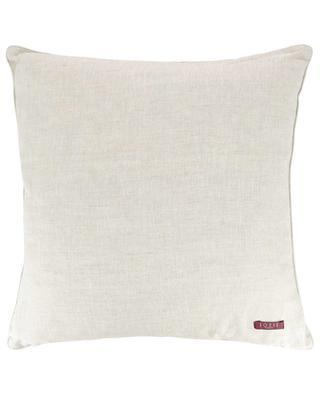 Mahjong embroidered linen cushion IOSIS