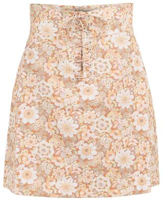 Zippy Lace Up floral mini skirt with lacing ZIMMERMANN