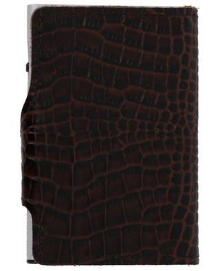 Crocodile embossed leather and aluminium card-holder TRU VIRTU