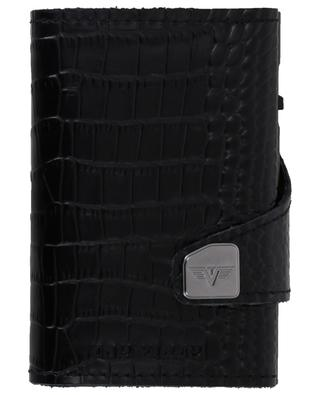 Crocodile embossed leather and aluminium card-holder TRU VIRTU