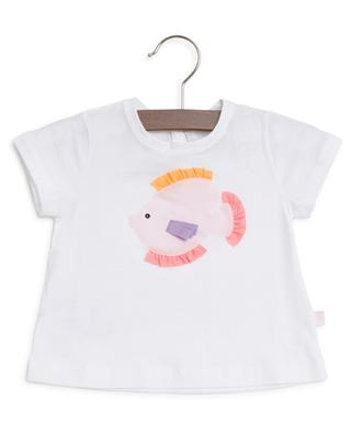 Cotton T-shirt with fish appliqué IL GUFO