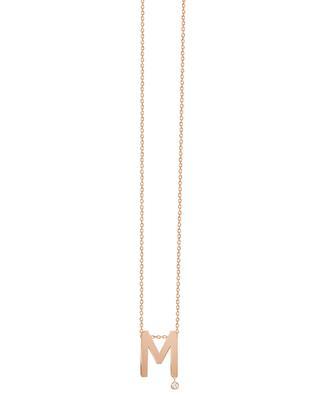 Collier en or rose avec diamant Abécédaire M VANRYCKE