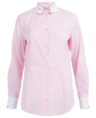 Tortora shirt with hand embroideries VIVETTA
