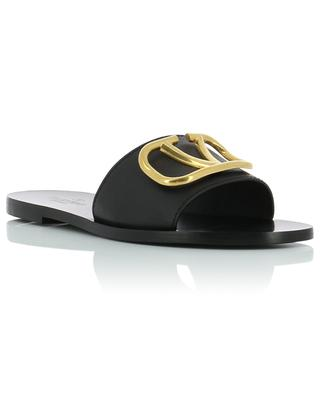 Go Logo flat grained leather slides VALENTINO