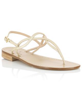 Sandalen aus goldenem Leder mit verschlungenen Riemchen PAOLO FERRARA