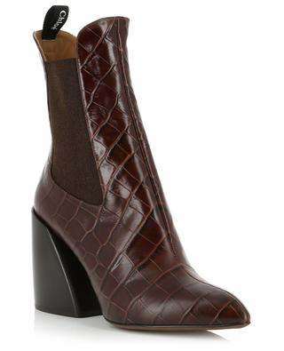 Wave croc effect leather ankle boots CHLOE