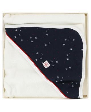 Terry cotton bath cape with ship pattern PETIT BATEAU