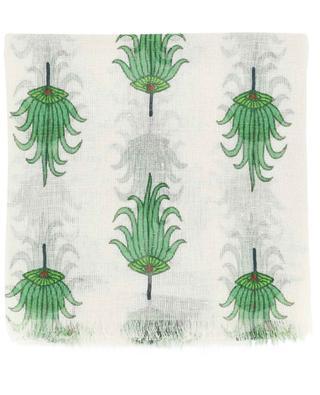 Écharpe en lin imprimé éventail palmier PASHMA
