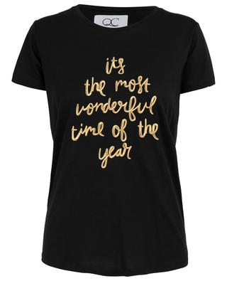 Wonderful slogan embroidered T-shirt QUANTUM COURAGE